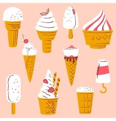Set with ice cream vector