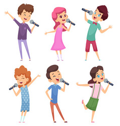 Singing kids happy cute childrens music voice vector