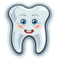 Smiling cartoon tooth vector image
