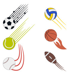 sports flying balls set with speed motion trails vector image