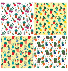 succulent pattern set flat style vector image