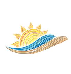 Sun dawn in sea with sandy beach vector