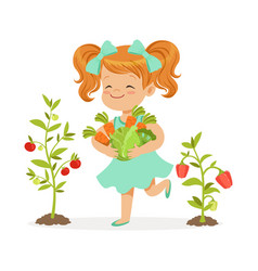 Sweet redhead little girl picking vegetables in vector