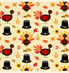 Thanksgiving turkey and pilgrim hat pattern vector