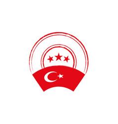 turkish flag retro stamp vector image