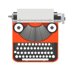 Typewriter old vintage writer retro type paper vector