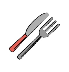 Utensils kitchen fork and knife sketch vector