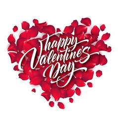 valentines day lettering on background with rose vector image