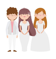 wedding groom and brides elegant dress and suit vector image