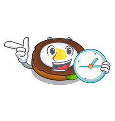 with clock egg scotch served on cartoon plates vector image