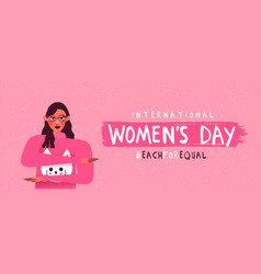 Womens day each for equal pink woman banner vector