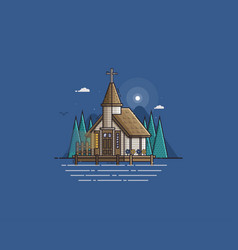 wooden church on the lake vector image vector image