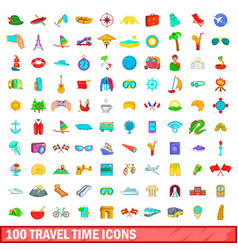 100 travel time icons set cartoon style vector image vector image
