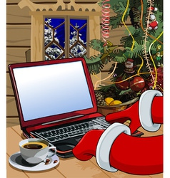 cartoon Santa Claus writes a letter on the laptop vector image vector image