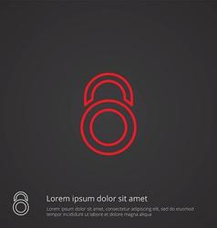 lock outline symbol red on dark background logo vector image