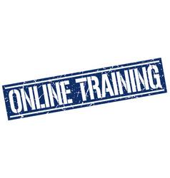 Online training square grunge stamp vector