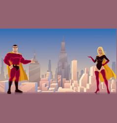 superhero couple presenting vector image vector image