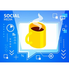 bright speech bubble and coffee on blue back vector image