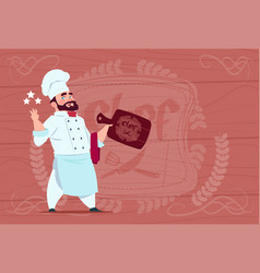 chef cook hold board smiling cartoon restaurant vector image vector image