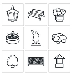 Landscaping icons vector image