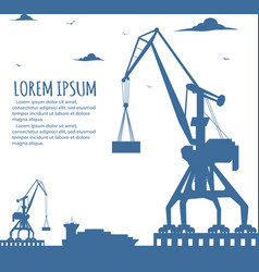 seaport banner with port crane silhouette vector image
