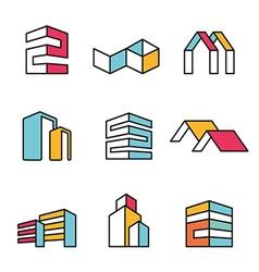 Set of real estate house logo designs vector image vector image