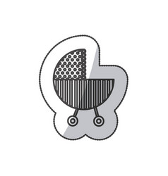 Sticker silhouette traditional baby carriage with vector