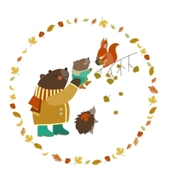 Bear bear cub squirrel and hedgehog walking in vector image vector image