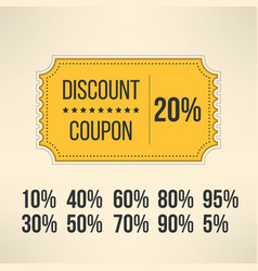 Discount promotion coupon in vintage design sale vector