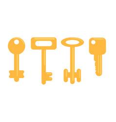 flat golden keys set vector image