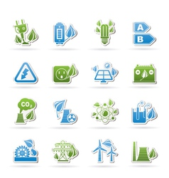 Green energy and environment icons vector image vector image