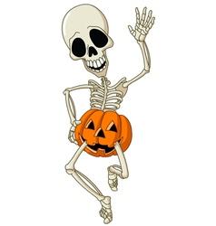 happy skeleton vector image