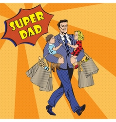 Super Dad with kids on his hands and Shopping Bags vector image vector image