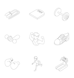 Active sports icons set outline style vector image
