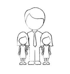 figure man her girls twins icon vector image