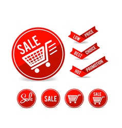 Set of sale tag circle banner ribbon paper 001 vector image vector image