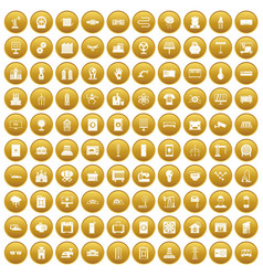 100 electrical engineering icons set gold vector