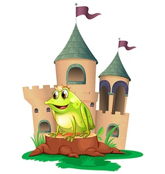 A frog prince with castle at his back vector