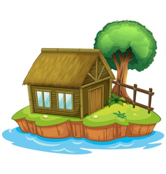 A house and tree on island vector