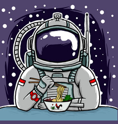 astronaut eating mie ayam or chicken noodles vector image
