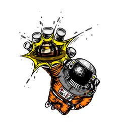 Astronaut reaches for planet or sun vector