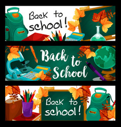 back to school green chalkboard banners vector image