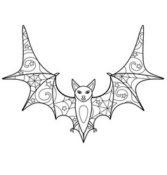 Bat - coloring antistress - linear picture vector