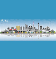 berlin germany skyline with gray buildings blue vector image