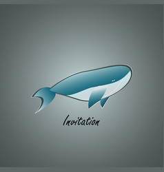 Blue whale on grey background with text vector