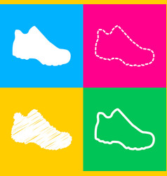 boot sign four styles of icon on four color vector image