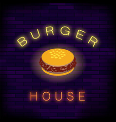 burger house neon colorful sign vector image