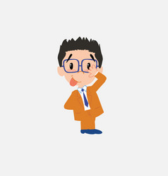 Businessman with glasses sticks out his tongue in vector