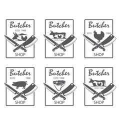 butcher shop emblems set vector image