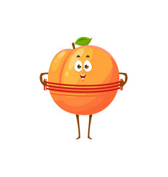 Cartoon apricot funny fruit sportsman icon vector